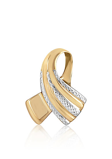 Belk & Co. Slide Ribbon Pendant in 10k Yellow Gold and Rhodium