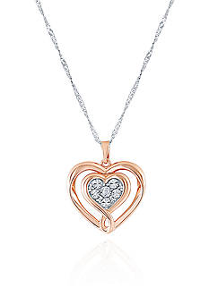 Belk & Co. 1/6 ct. t.w. Diamond Pendant in Sterling Silver & Rose Gold Plating