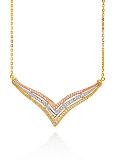 Belk & Co. Cubic Zirconium Necklace in Gold Plated Sterling Silver
