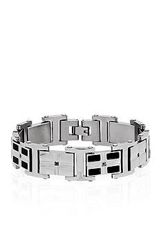 Belk & Co. Black Carbon Fiber & Cubic Zirconia Bracelet in Stainless Steel