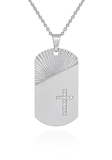 Belk & Co. Cubic Zirconia Cross Pendant in Stainless Steel
