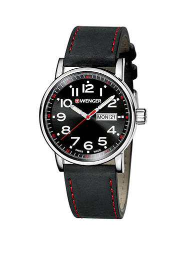 Wenger® Men's Attitude Large Black and Red Watch