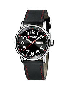 Wenger Men's Attitude Large Black and Red Watch