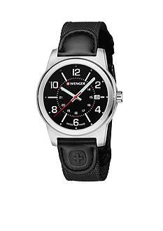 Wenger Men's Field Green Leather Strap Swiss Watch