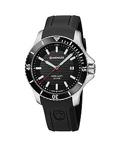 Wenger Men's Swiss Seaforce Black Silicone Strap Watch