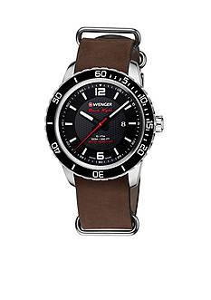 Wenger Men's Swiss Roadster Black Night Leather Strap Watch