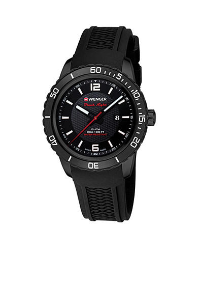Wenger® Men's Roadster Black Night Silicone Strap Swiss Watch