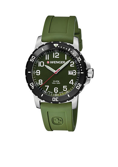 Wenger® Men's Swiss Off Road Olive Silicone Strap Watch