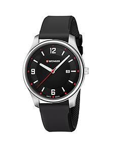 Wenger Silver Swiss City Active Large Black Silicone Strap