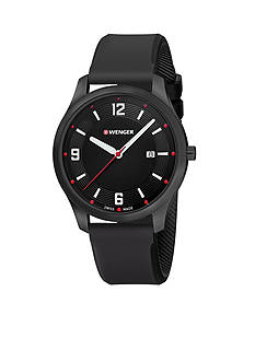 Wenger Men's City Active Black Rubber Strap Watch