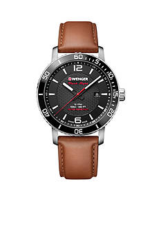 Wenger® Men's Roadster Black Night Brown Leather Watch