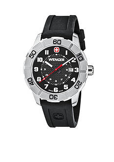 Wenger Stainless Steel Swiss Roadster Black Silicone Strap