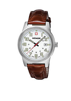Stainless Steel Wenger Swiss Field Classic Brown Leather Strap