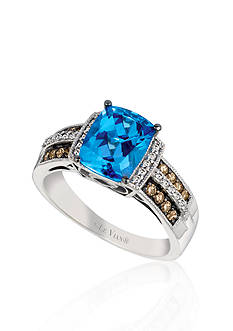 Le Vian Ocean Blue Topaz™, Vanilla Diamond®, and Chocolate Diamond® Ring in 14K Vanilla Gold