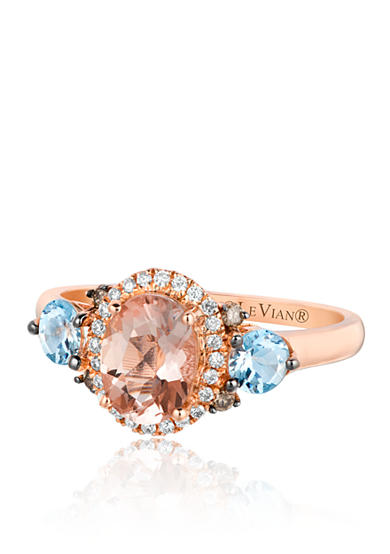Le Vian® Peach Morganite™ with Multicolored Diamonds Ring in 14k Strawberry Gold®