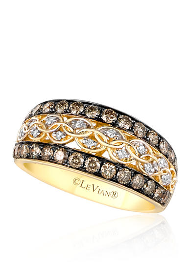 Le Vian® Vanilla Diamonds® and Chocolate Diamonds®  Ring in 14K Honey Gold™
