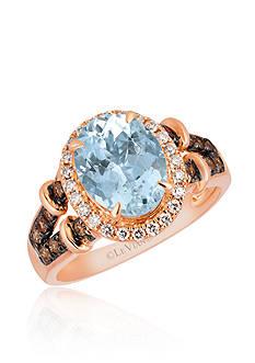 Le Vian Sea Blue Aquamarine® with Vanilla Diamonds® and Chocolate Diamonds® Ring in 14K Strawberry Gold®