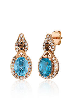 Le Vian Deep Sea Blue Topaz™ with Vanilla Diamonds® and Chocolate Diamonds® Earrings in 14K Strawberry Gold®
