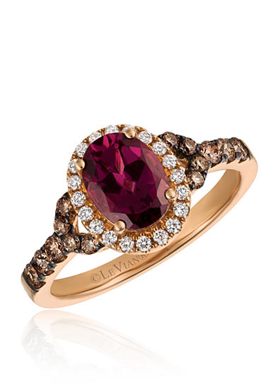 Le Vian® Raspberry Rhodolite® with Vanilla Diamonds® and Chocolate Diamonds® Ring in 14K Strawberry Gold®