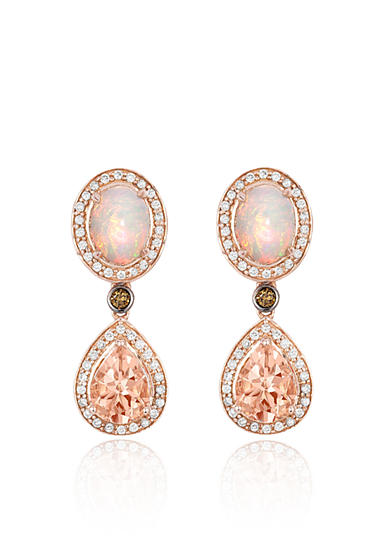 Le Vian® Peach Morganite with Neopolitan Opal, Vanilla Diamonds , and Chocolate Diamonds Earrings in 14K Strawberry Gold