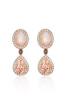 Le Vian Peach Morganite with Neopolitan Opal, Vanilla Diamonds , and Chocolate Diamonds Earrings in 14K Strawberry Gold
