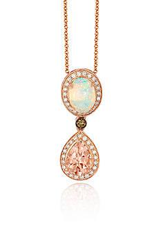 Le Vian Peach Morganite™ with Neopolitan Opal™, and Multi Colored Diamonds Pendant in 14k Strawberry Gold®