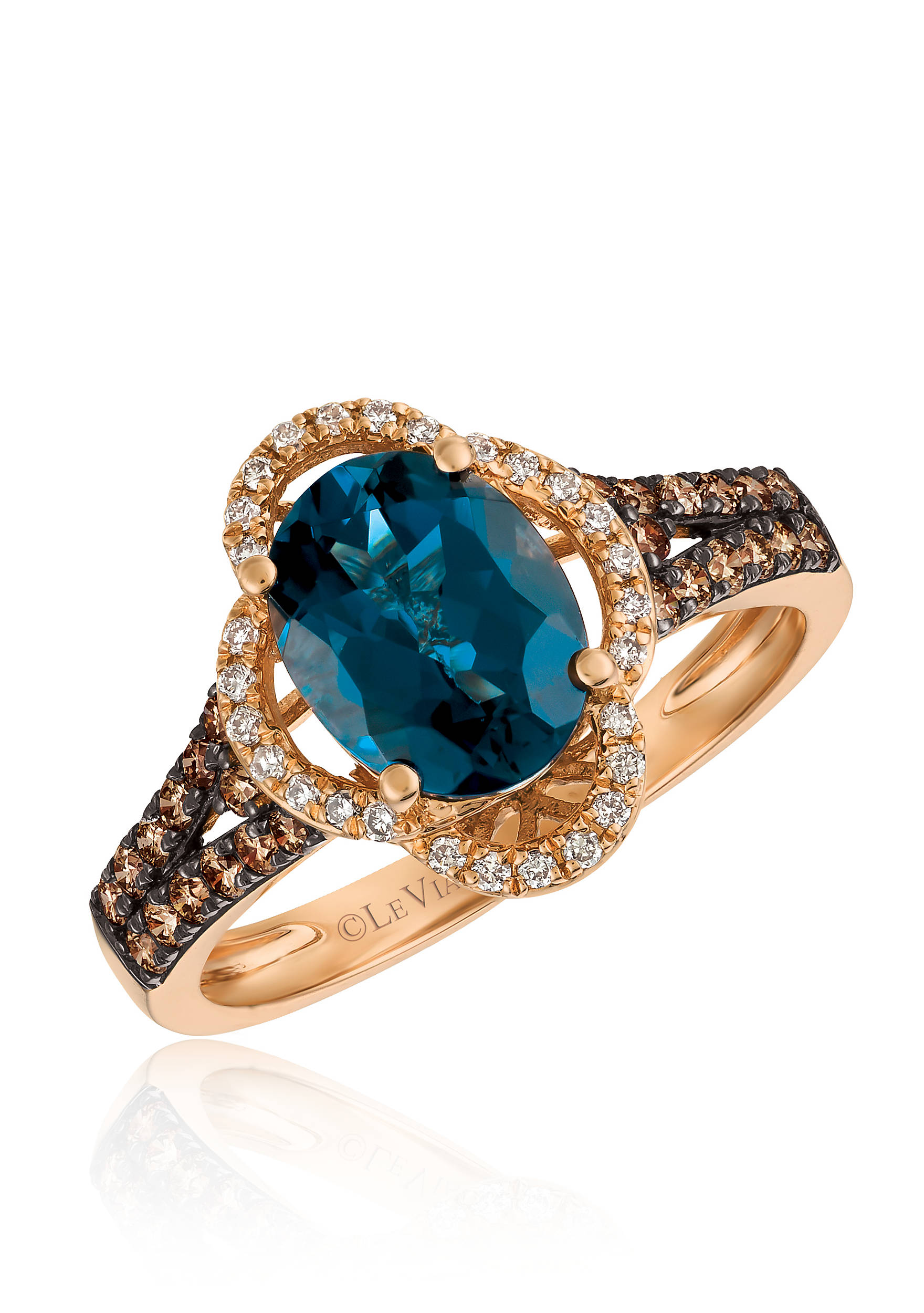 Deep Sea Blue Topaz With Vanilla Diamonds And Chocolate Ring In 14k
