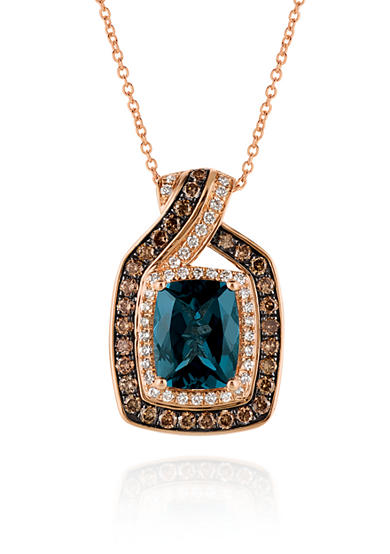 Le Vian® Deep Sea Blue Topaz™ with Vanilla Diamonds®, and Chocolate Diamonds® Pendant in 14k Strawberry Gold®