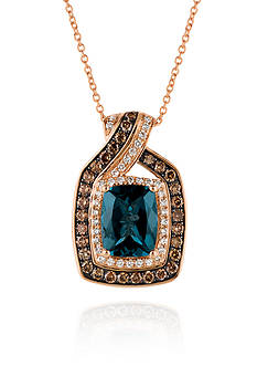 Le Vian Deep Sea Blue Topaz™ with Vanilla Diamonds®, and Chocolate Diamonds® Pendant in 14k Strawberry Gold®