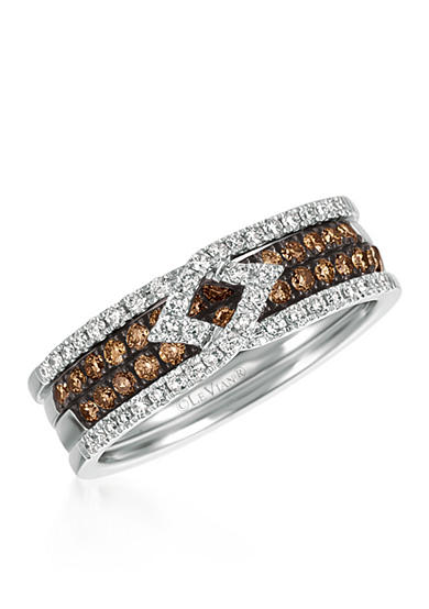 Le Vian® Chocolate Diamonds® and Vanilla Diamonds® Stack Ring in 14k Vanilla Gold®