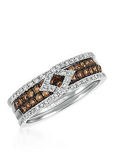 Le Vian Chocolate Diamonds® and Vanilla Diamonds® Stack Ring in 14k Vanilla Gold®