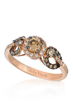 Le Vian Chocolate Diamonds® and Vanilla Diamonds® Ring in 14K Strawberry Gold®