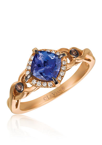 Le Vian® Blueberry Tanzanite with Chocolate Diamonds and Vanilla Diamonds Ring set in 14K Strawberry Gold