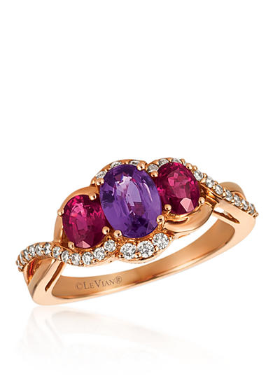 Le Vian® Purple Sapphire with Passion Ruby™, and Vanilla Diamonds® Ring in 14k Strawberry Gold®-Box