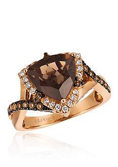 Le Vian Chocolate Quartz® with Chocolate Diamonds® and Vanilla Diamonds® Ring in 14K Strawberry Gold®
