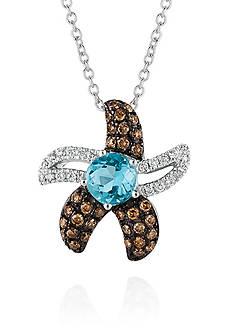 Le Vian Ocean Blue Topaz™ with Chocolate Diamonds®, and Vanilla Diamonds® Starfish Pendant in 14k Vanilla Gold&#