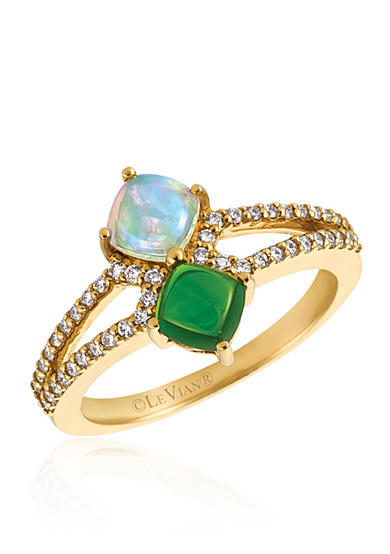 Le Vian® Neopolitan Opal™ with Pistachio Diopside® and Vanilla Diamonds® Ring in 14k Honey Gold™