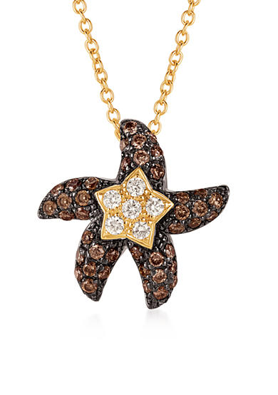 Le Vian® Chocolate Diamonds® and Vanilla Diamonds® Starfish Pendant in 14k Honey Gold™