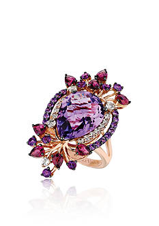 Le Vian Candy Colors® Amethyst with Raspberry Rhodolite® and Vanilla Topaz™ Ring in 14K Strawberry Gold®