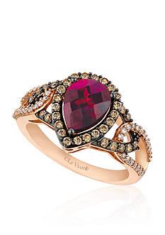 Le Vian Raspberry Rhodolite® with Vanilla Diamonds®, and Chocolate Diamonds® Ring in 14k Strawberry Gold®
