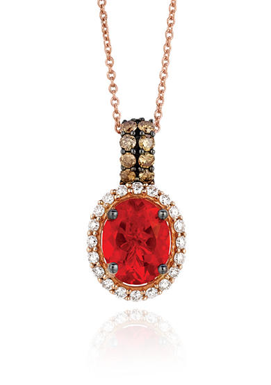 Le Vian® Neon Tangerine Fire Opal® with Vanilla Diamonds®, and  Chocolate Diamonds® Pendant in 14k Strawberry Gold®