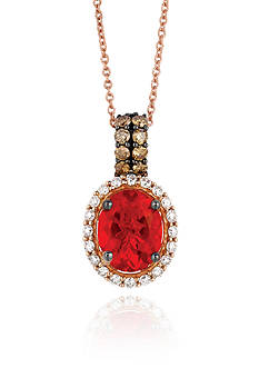 Le Vian Neon Tangerine Fire Opal® with Vanilla Diamonds®, and Chocolate Diamonds® Pendant in 14k Strawberry Gold