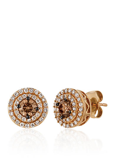 Le Vian® Chocolate Diamonds®, and Vanilla Diamonds® Stud Earrings in 14k Strawberry Gold®