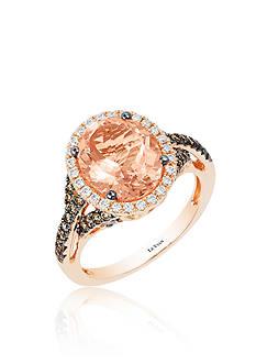 Le Vian Peach Morganite™ with Vanilla Diamonds®, and Chocolate Diamonds® Ring in 14k Strawberry Gold®
