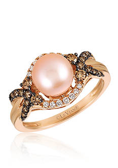 Le Vian® Strawberry Pearl® with Vanilla Diamonds®, and Chocolate Diamonds® Ring in 14k Strawberry Gold®