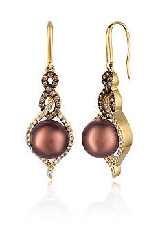Le Vian® Chocolate Pearls® with Vanilla Diamonds®, and Chocolate Diamonds® Earrings in 14k Honey Gold™