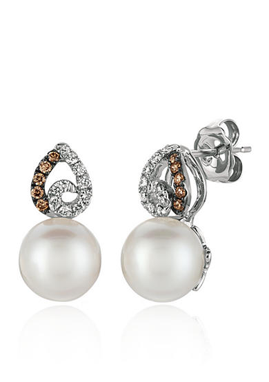 Le Vian® Vanilla Pearls® with Vanilla Diamonds®, and Chocolate Diamonds® Drop Earrings in 14k Vanilla Gold®