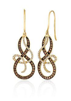 Le Vian Vanilla Diamonds® and Chocolate Diamonds® Earrings in 14K Honey Gold™