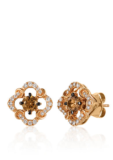 Le Vian® 0.46 ct. t.w. Chocolate Diamonds® and 0.17 ct. t.w. Vanilla Diamonds® Earrings in 14k Strawberry Gold®
