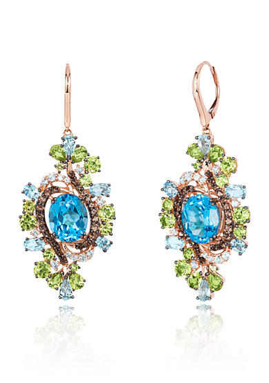 Le Vian® Ocean Blue Topaz with Green Apple Peridot and Chocolate Quartz Earrings in 14K Strawberry Gold